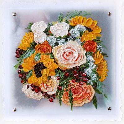 Rachael's Bouquet - renewing of vows bouquet painting by Terri Heinrichs.