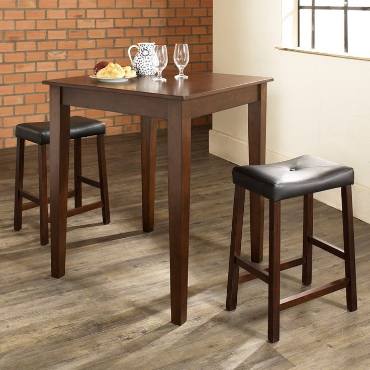 Crosley 3-Piece Pub Dining Set with Tapered Leg and Upholstered Saddle Stools - KD320008