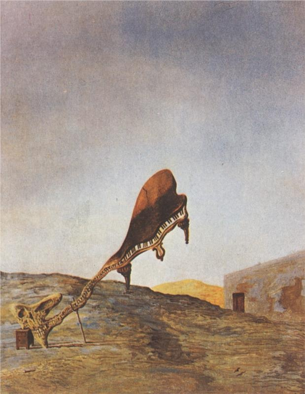 Skull with its Lyric Appendage Leaning on a Bedside Table which should have the Exact Temperature of a Cardinal's Nest - Salvador Dali -