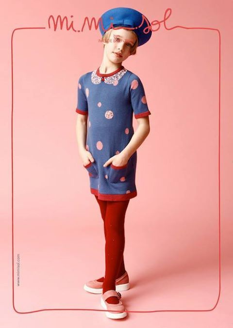 A practical dress, with big polka dots, bows and pockets, always comfortable, but romantic as well, with a red stone drawn on the collar. For an 'academy' touch, add a nice blue beret and you're set! www.mimisol.com/... #mimisol #clothing #fashion #children #kids #childrenswear #kidswear #aw2013 #aw #collection #stores #mimisolstores  #littledress #dress #bows #blue #beret