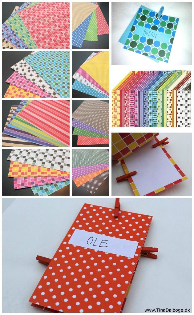 Indbydelser, bordkort og menukort, - der er lette at lave, - af mønstret karton i lækre farver...