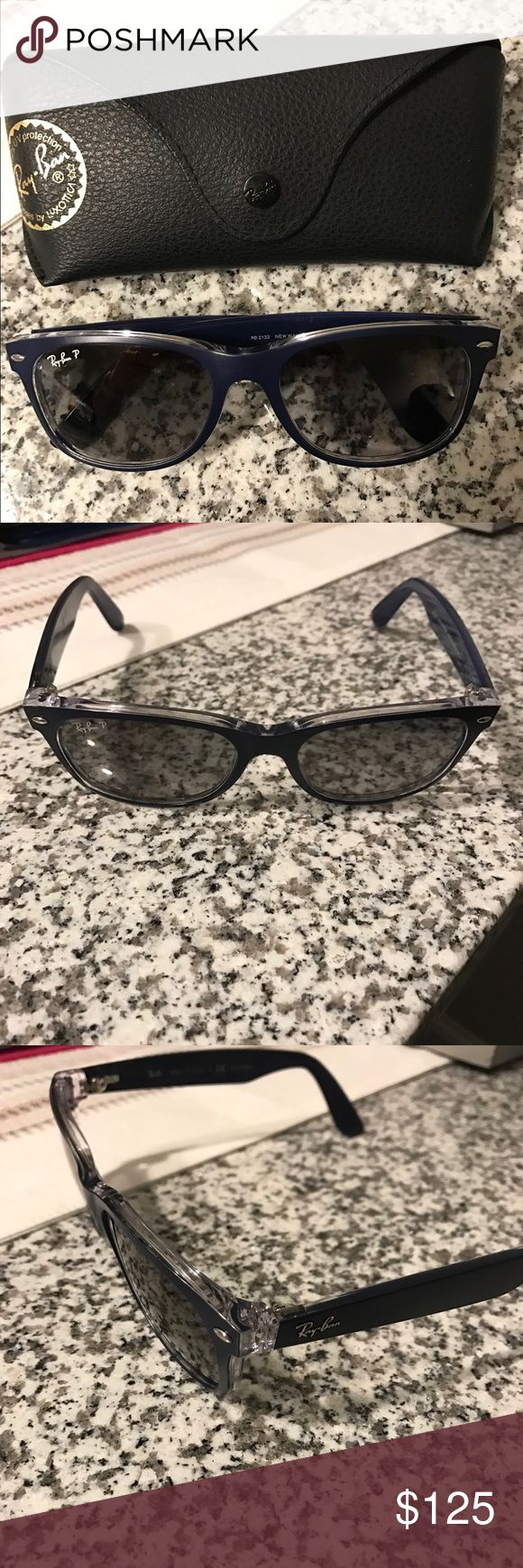 Ray Ban Polarized Sunglasses Polarized Ray Ban Wayfarer sunglasses. Only wore a handful of times. Comes with case shown. No scratches on lenses. Matte navy blue and clear. Currently selling for $190 at Sunglass Hut. Ray-Ban Accessories Sunglasses