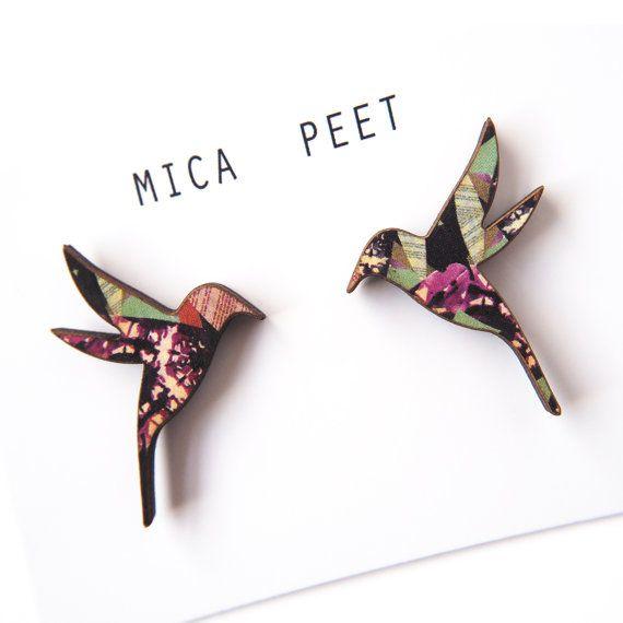 Kolibrie oorbellen - houten vogel oorbellen vogel juwelen vogel hengsten Laser gesneden vogels - Insect patroon