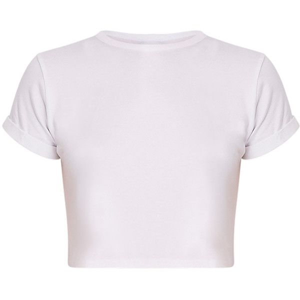 Basic White Roll Sleeve Crop T Shirt ($8.75) ❤ liked on Polyvore featuring tops, t-shirts, white crop tee, basic tshirt, crop t shirt, white top and basic t shirt