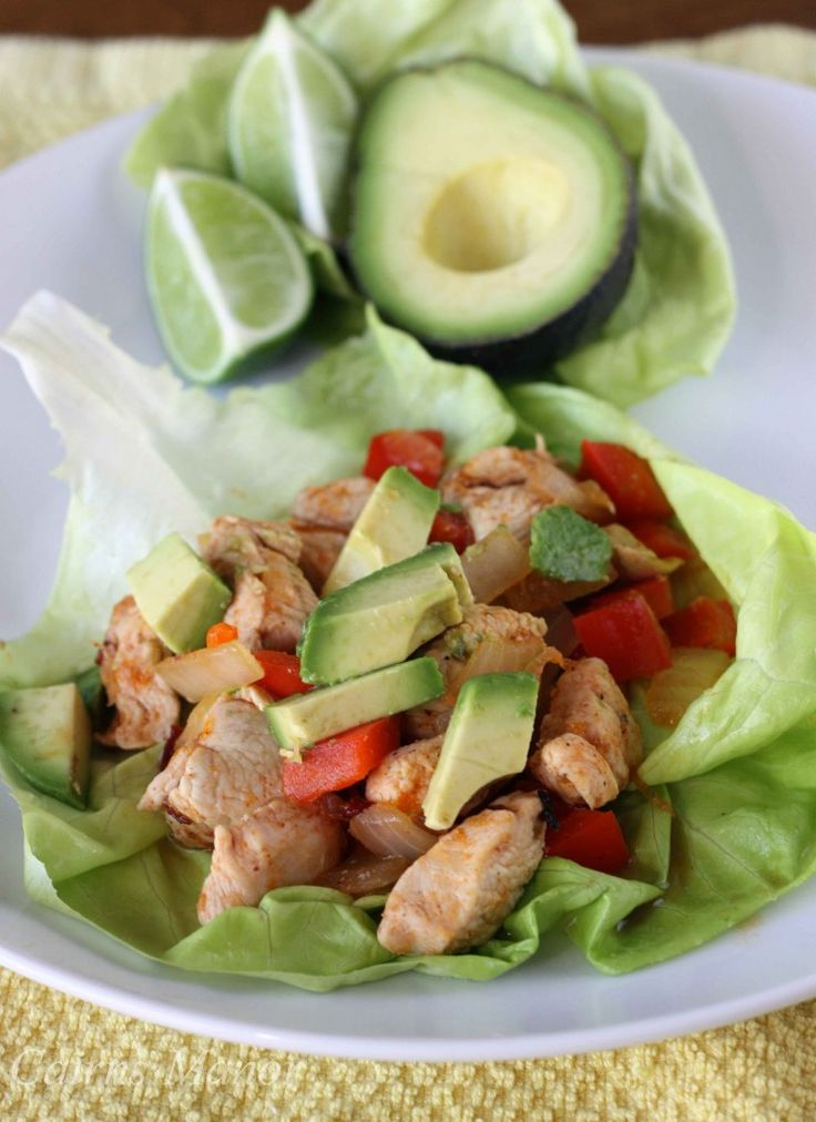 Chicken Fajita Lettuce Wraps...love the Spanish twist on lettuce wraps, which are usually Asian. Delicious!