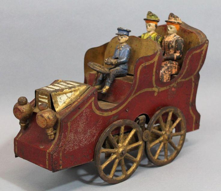 RARE 1887 Antique D.P. Clark American Hill Climber Touring Car Friction Toy NR #DPClark