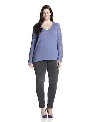 74% OFF Cotton Addiction Plus Women's Open Stitch V-Neck Sweater (Cadet)
