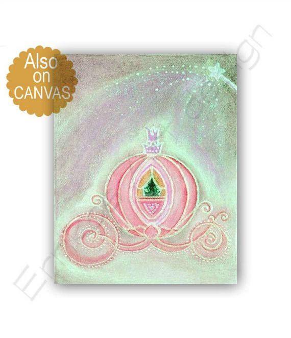 Cinderella Princess Art Print Pink Carriage, Girls room Wall Art, Children Decor, Princess Girls room, Nursery Art, Fairy tale Wall Art