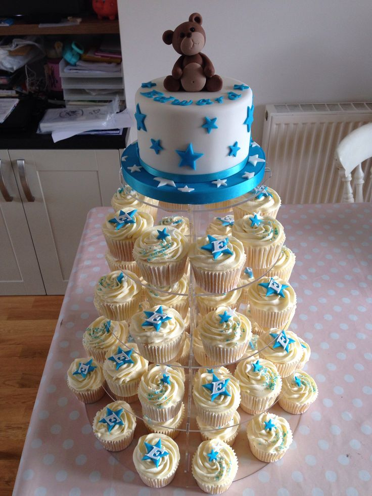 Star Themed Boys Christening Cake Amp Cupcake Tower Cakes