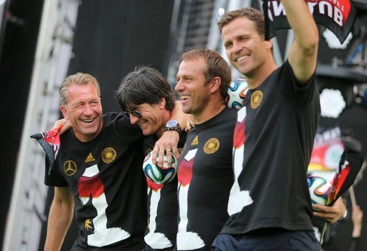 Trainerteam. Andreas Köpke, Joachim Löw, Hansi Flick und Oliver Bierhoff