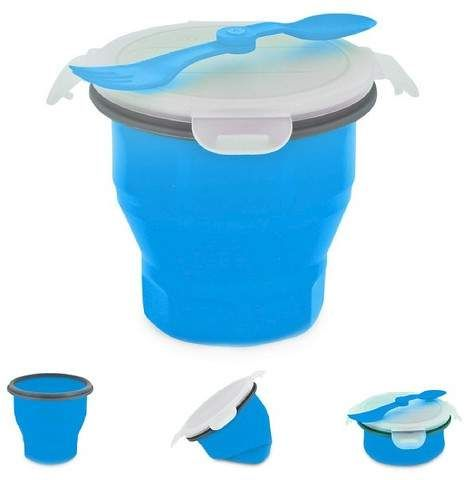 SmartPlanet Collapsible Blue Soup Bowl Kit 26 oz | Easy to store soup container, perfect for soup or stews on the go. #soupbowl #spacesaver #foodcontainer #ad #worklunches #easylunches