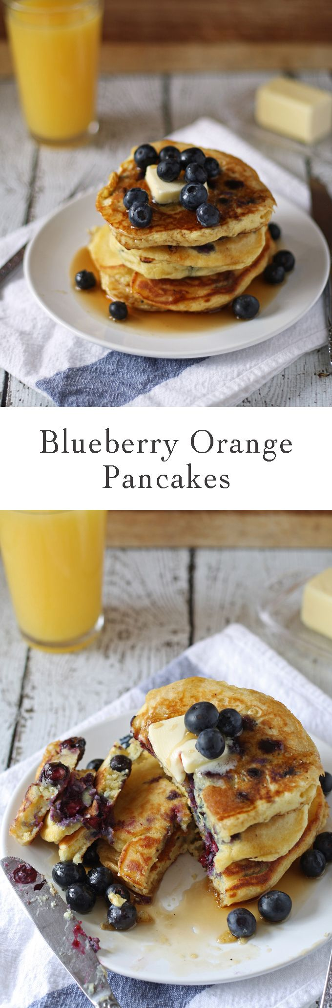 Celebrate National Blueberry Pancake day with these blueberry orange pancakes! Breakfast will never be the same. | honeyandbirch.com | ideas | easy | perfect | favorite