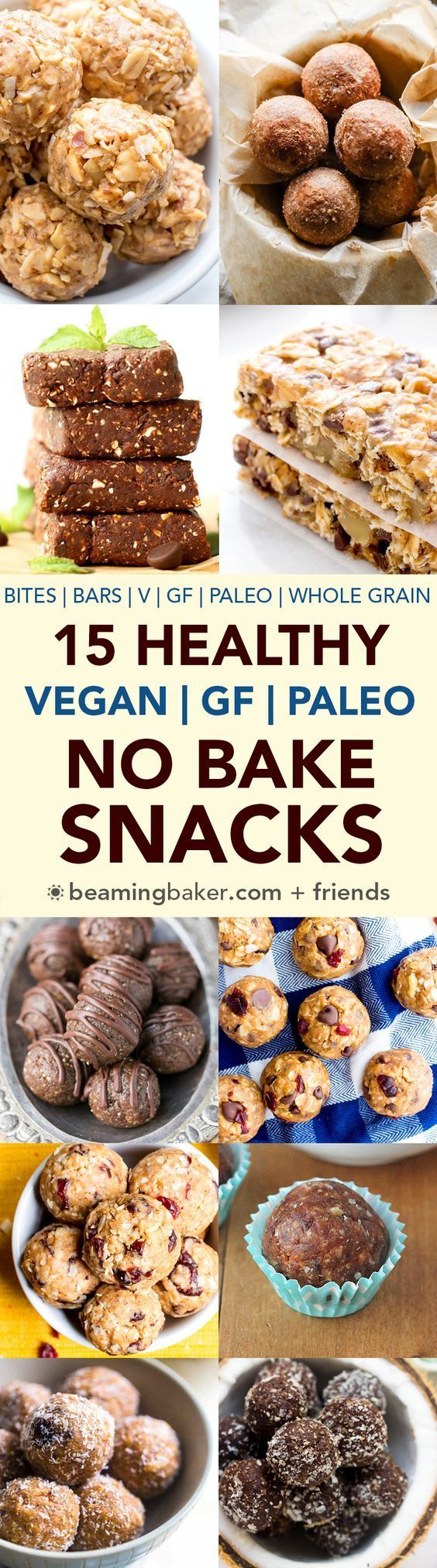 15 Healthy Gluten Free Vegan No Bake Snacks (V, GF, Paleo