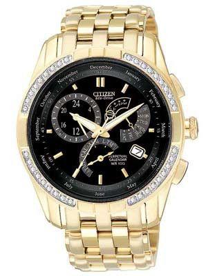 Citizen Calibre 8700 Perpetual Calendar Diamond Watch - Gold Tone - Black Face