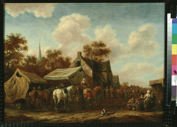Brand Cornelisz Gael, Paardenmarkt (Horse Market), 1670-1680. (collection) #franshalsmuseum #horse #art #painting