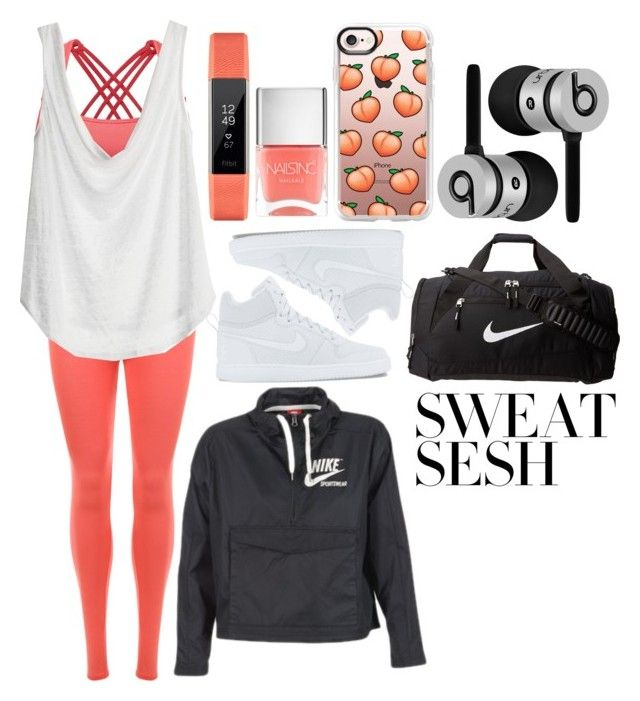 """""""// peach party //"""" by alinadesigns ❤ liked on Polyvore featuring WearAll, Calypso St. Barth, Nails Inc., NIKE, Fitbit, Beats by Dr. Dre and Casetify"""