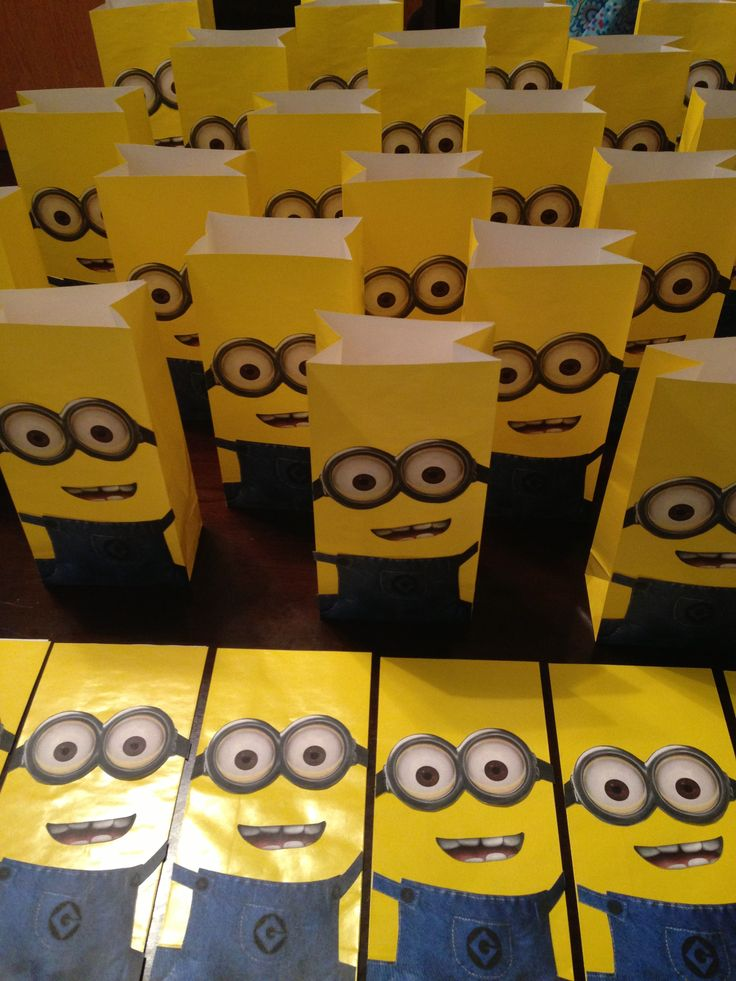 Minion treat bags-maybe even as centerpieces if I tied helium filled balloons to them.