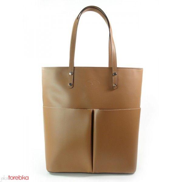 Carmelowa torba shopper bag ze skóry Italy