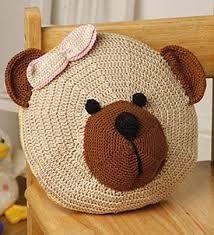 Almofada em Crochê Urso -  /  Cushion to Crochet Hooks Bear -