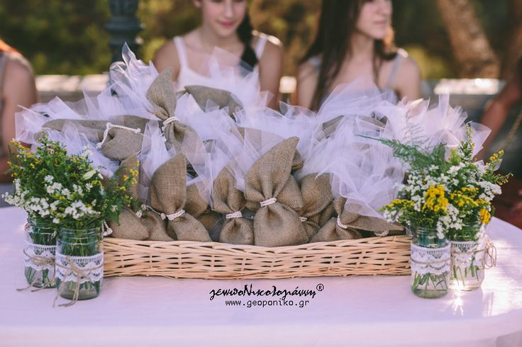 burlap bobonieres, flowers, orthodox wedding