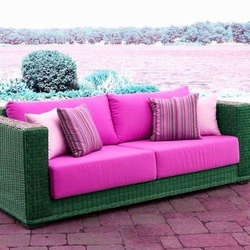 #pink Outdoor #wicker Patio #sofa By Wicker... U2014 Http: