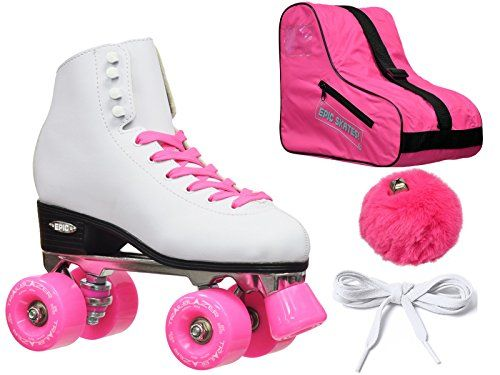 New Epic Classic White Pink HighTop Quad Roller Skate Bundle W Bag Laces  Pom Poms Ladies