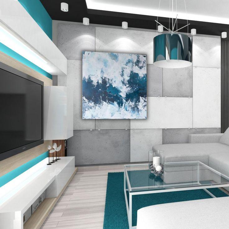 Abstract painting blue and white painting 80x80 cm by Agnieszka Potocka, Studio Plama.  Śnieżyca 80x80 cm - ręcznie malowany obraz abstrakcyjny - Sztuka - DecoBazaar