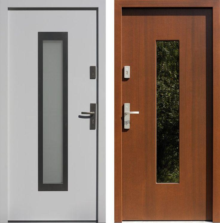 Drzwi wejściowe z aplikacjamii ze stali nierdzewnej inox wzór 499,3-499,12 białe + orzech