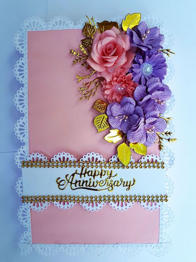 Anniversary Card Wedding Anniversary Cards Handmade Flowers Paper Anniversary Cards