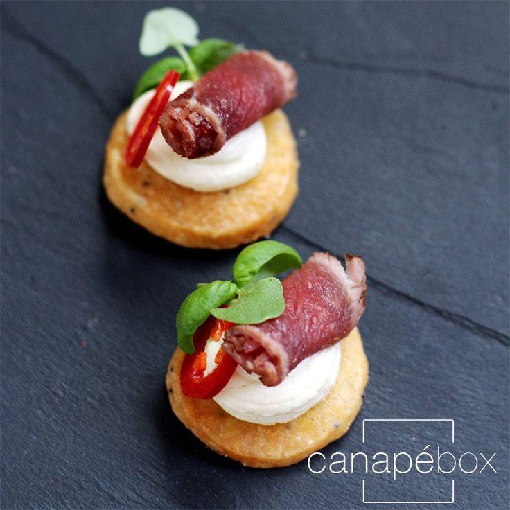 Beef carpaccio de caprese, chilli, Parmesan short bread - Canapés