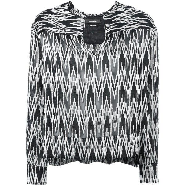 Isabel Marant 'Gaomi' blouse ($330) ❤ liked on Polyvore featuring tops, blouses, black, see through tops, split neck blouse, see through blouse, isabel marant top and chevron blouses