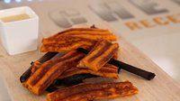 Gaufres de patates douces fumées aux sarments et lardons - Recette de cuisine Top chef