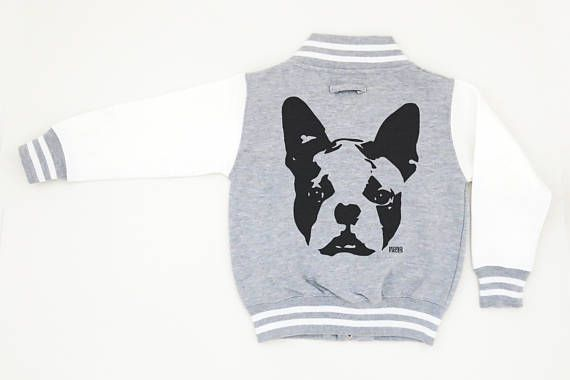 Boston Terrier Unisex Kids Baseball Jacket Teenager Varsity