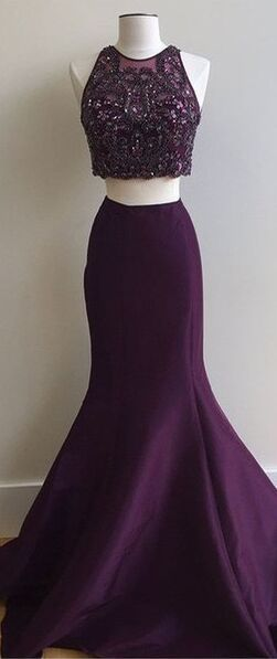 Modest Prom Dresses,Simple Cheap Prom Dresses,Dark Plum Two Pieces Prom Dresses,Long Mermaid Prom Gowns,Evening Dresses,Party Dresses,Pretty Graduation Dresses