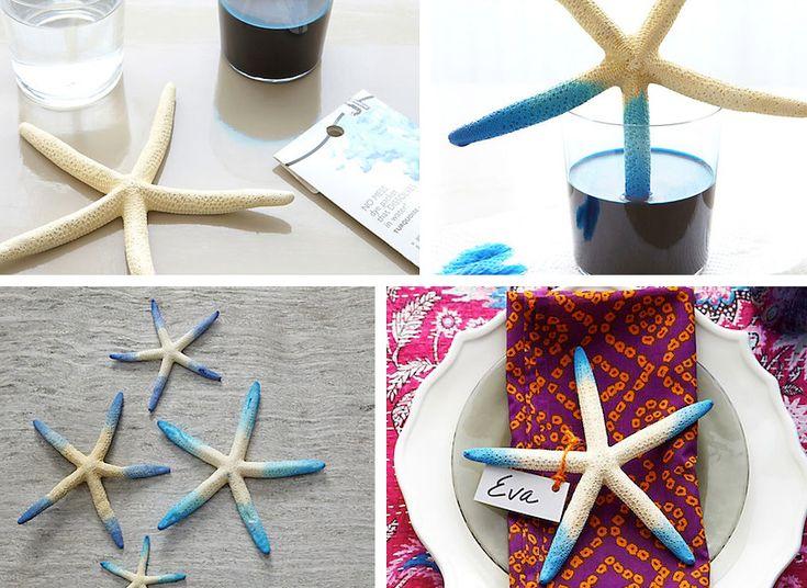 Decorazione con le conchiglie: centrotavola decorativo con stella marina