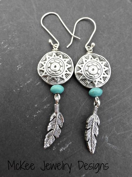 Indian basket charms. Stone, feather charms and sterling silver earrings. -  - McKee Jewelry Designs - 1