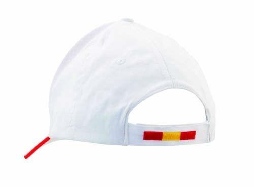 Gorra blanco con detalle de bandera de españa. Animar  selección española de fútbol en el mundial de Brasil. Dimensiones: 3,3x20,3x3,3 cm   Colores disponibles: Rojo [1,39 €]