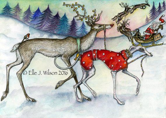 Greyhound Art Dog Print Christmas by AlmostAnAngel66 on Etsy