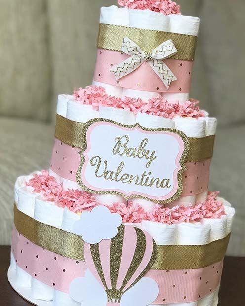 Cute Pink Diaper Cake Idea #babygirl #babyshowergifts