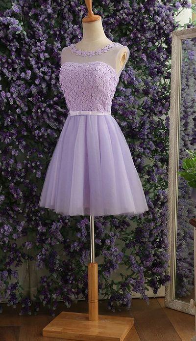 Elegant Gray Prom Dresses,tulle flower beaded Prom Dresses,short prom dresses,short a-line Prom Dresses,party evening dress,YY38