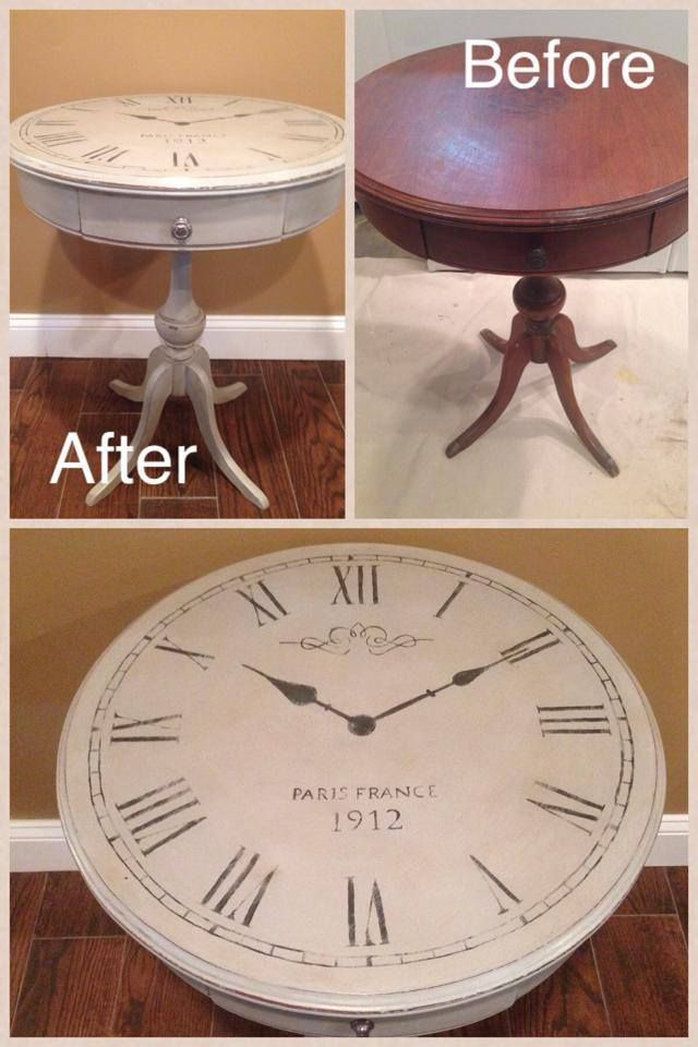 before and after hand painted drum table to clock face table (no stencil)