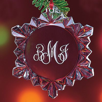 Monogram Crystal Snowflake Ornaments: Happy Couple