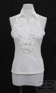 anne fontaine white blouses | Anne Fontaine White Ruffle Sleeveless Button Front Blouse Size 40
