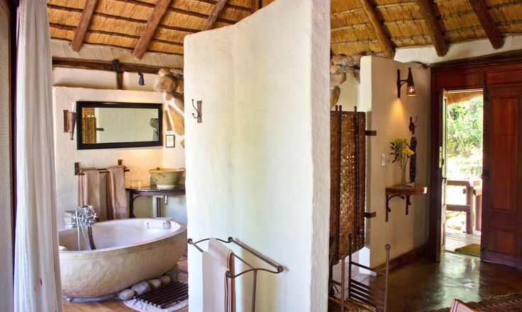 Interior of a Luxury chalet at Tanamera Lodge - cosy, rustic, private and romantic.  What are you waiting for?  www.tanamera.co.za
