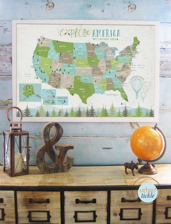 National Parks map, Map for kids, Poster of US parks, Home