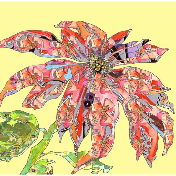 Poinsettia Asian styled Contemporary Art Print by NicoleKristiana, $28.00