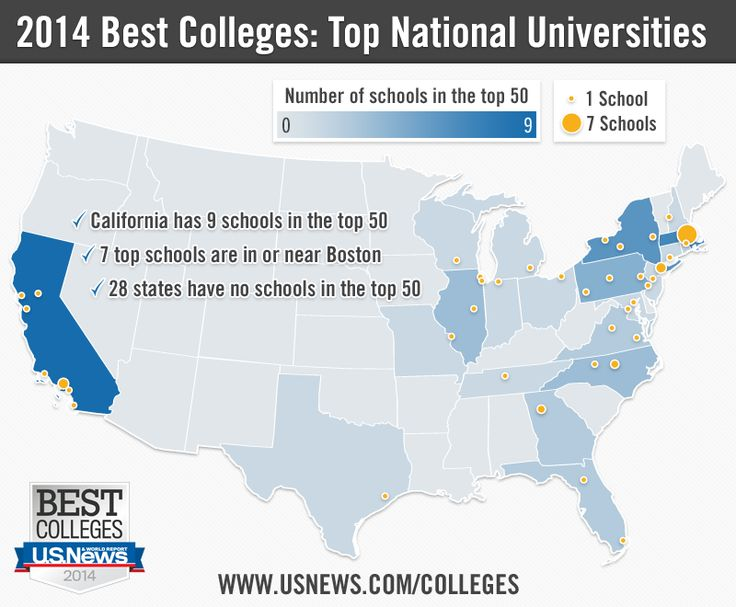 us news 2013 best colleges top 50 national universities mapped by state infographic