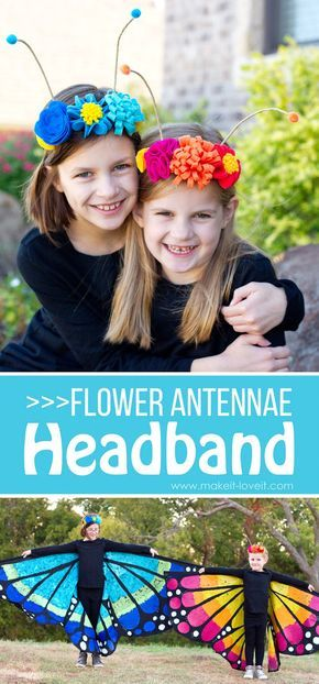 DIY Flower Antennae Headband (...to match the Large Wing Butterfly Costume)   via www.makeit-loveit.com