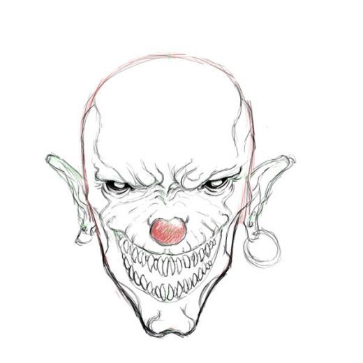 Evil and scary Clown drawings Tutorial