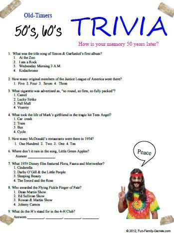 Can your memory go back to the 50's and 60's for some fun trivia?